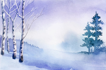 Printed kitchen splashbacks Purple Winter landscape. Watercolor landscape illustration. Christmas b