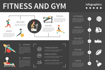 Fitness And Gym infographic flat vector illustration. Presentation Concept