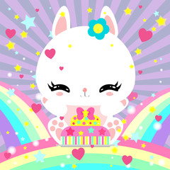 Little cute white bunny with a cake on rainbow. Magic world. Birthday. Greeting card. Children's poster.