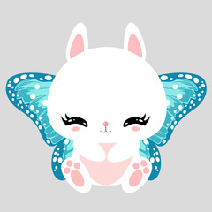 Little cute white bunny with blue butterfly wings. Romantic character. Greeting card. Beautiful sticker.