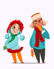 Winter characters. Girl and boy. Christmas