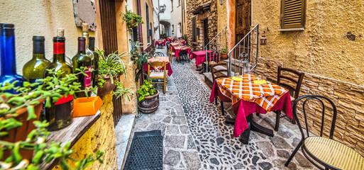 rustic tables in Castelsardo old town