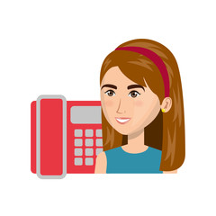avatar woman smiling and red telephone icon. colorful design. vector illustration