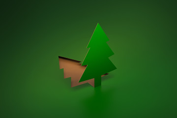Green Pine Tree pop up from paper cut 3d rendering