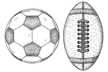 Soccer ball and american football ball. Hand drawn sketch