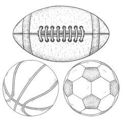 Sports balls. Hand drawn sketch
