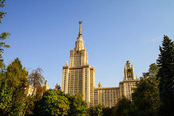 Lomonosov Moscow State University framed by trees, Moscow, Russia