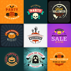 Set of Retro Happy Halloween Badges. Design Element for Greetings Card or Party Flyer. Vector Illustration. Halloween Posters Set.