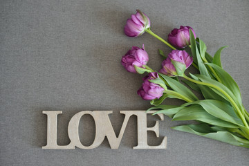 Fresh spring purple tulips flowers bouquet on grey canvas background, word love with wooden texture. Place for text. Green tulips petals, tulips and wood.
