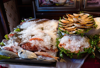 various seafood in ice on the table in the restaurant