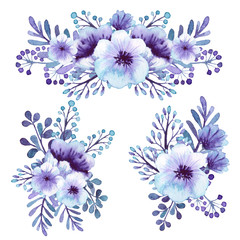 Set Of Watercolor Light Violet Flowers Bouquets