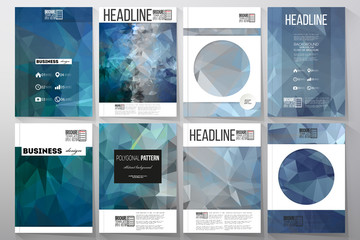 Set of business templates for brochure, flyer or booklet. Abstract blue polygonal background, colorful backdrop, modern stylish vector texture