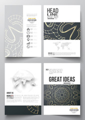 Set of business templates for brochure, magazine, flyer, booklet or annual report. Polygonal backdrop with golden connecting dots and lines, connection structure. Digital scientific background