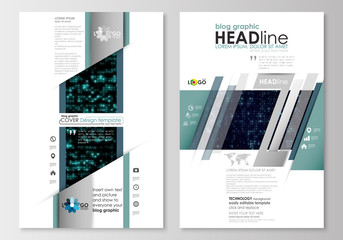 Blog graphic business templates. Page website design template, easy editable, flat layout. Virtual reality, color code streams glowing on screen, abstract technology background with symbols.