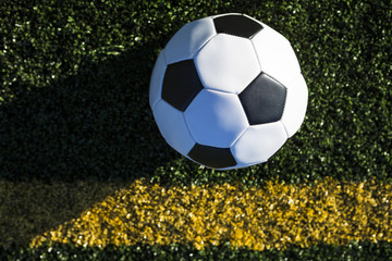 High Angle View of Soccer Ball on the field