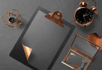 Black and Copper Stationery Mockup 1