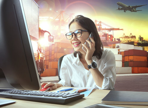 professional working woman and logistic industry business