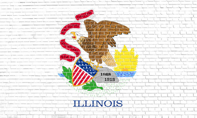 Flag of Illinois on brick wall texture background