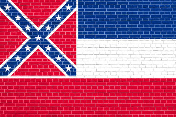 Flag of Mississippi, brick wall texture background