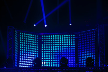 Led spotlights screen of blue colors. Concert stage decoration
