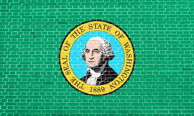 Flag of Washington state on brick wall texture