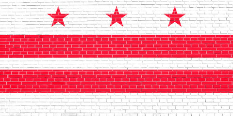 Flag of Washington, D.C. on brick wall texture