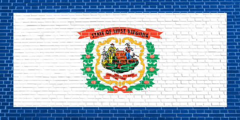 Flag of West Virginia, brick wall texture backdrop