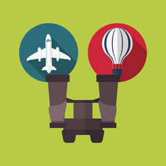 binoculars with travel vacation or holidays related icons image vector illustration