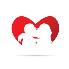 couple silhouette in red heart illustration