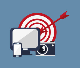 computer with bullseye camera and computer cellphone icons image vector illustration design
