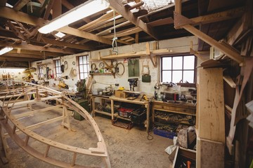 Wooden boat under construction