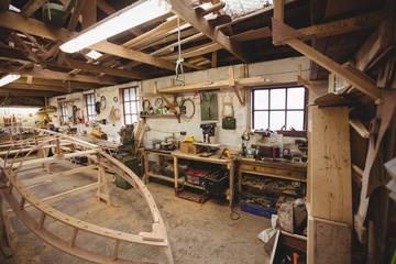 Wooden boat under construction