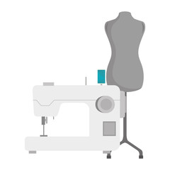 sewing machine with mannequin icon. vector illustration