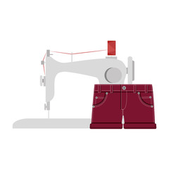 sewing machine with girl shorts icon. vector illustration
