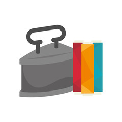 retro metal iron with spool of colorful thread  icon. vector illustration