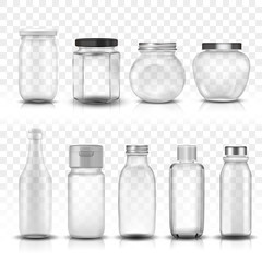 Nine glass jars collection set