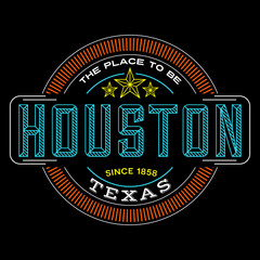 houston, texas linear logo design for t shirts and stickers