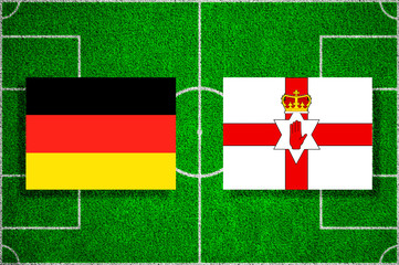Flags Germany - Northern Ireland on the football field. 2018 football qualifiers