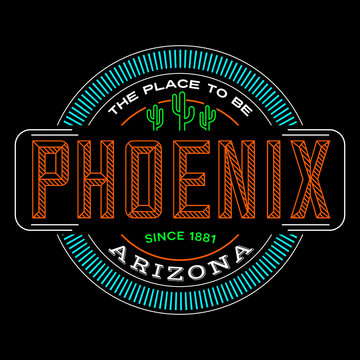 phoenix, arizona linear logo design for t shirts and stickers