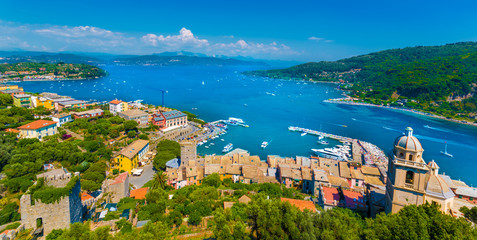 Panoramic view over  Portovenere harbor village, Cinque Terre National Park, Liguria, Italy