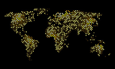 Colorful vector pixel world luminous night map