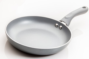 Frying pan skillet with grey surface on white background.