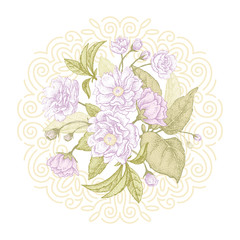 Vector card wiht plum flowers.
