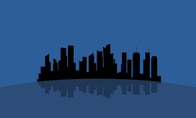 Silhouette of flat city reflection vector