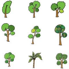 Doodle of tree set vector art
