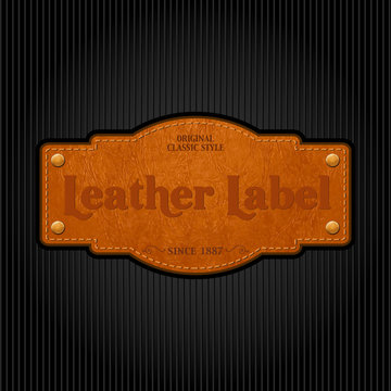 Vector leather label - retro template design