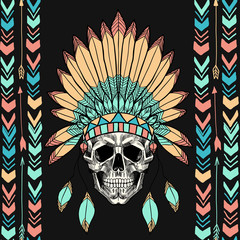Skull with indian feather hat. Vector seamless pattern.
