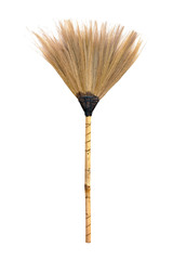 Straw  broomstick isolated on white background