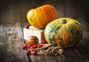 Pumpkins, melon and red berries on a wooden background