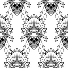Skull with indian feather hat. Vector seamless pattern